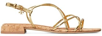 Tory Burch Penelope Flat Metallic Slingback Sandals