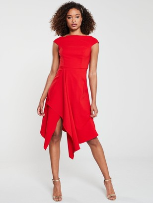 Very RIVIERA Draped Asymmetric Hem Prom Dress - Red