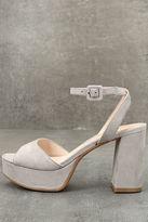 Chinese Laundry Theresa Smoke Grey Suede Platform Heels