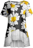 Lily Women's Tunics BLK - Black & Yellow Floral Ruffle-Hem Hi-Low Tunic - Women & Plus