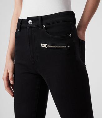 AllSaints Biker Cropped Mid-Rise Bi-Stretch Skinny Jeans, Black