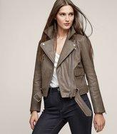 Reiss Kate - Leather Biker Jacket in Brown, Womens
