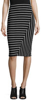 Ivanka Trump Striped Knit Midi Pencil Skirt