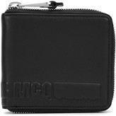 Mcq Alexander Mcqueen Black Logo-embossed Zipped Leather Wallet