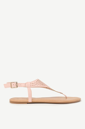 Ardene Faux Leather Cutout T-Strap Sandals