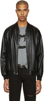 Saint Laurent Black Leather Oversized Teddy Bomber Jacket