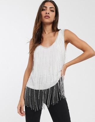 Asos Design DESIGN scoop neck cami with fringe embellishment-White