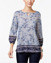 Style&Co. Style & Co Petite Printed High-Low Keyhole Top, Only at Macy's