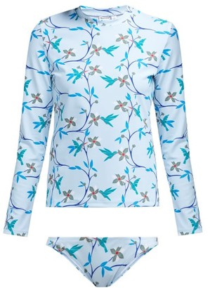 Thorsun Lillie Cubist Tropical Print Rash Guard Bikini - Womens - Blue Multi