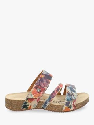 Josef Seibel Tonga 54 Triple Strap Leather Sandals, Floral Print