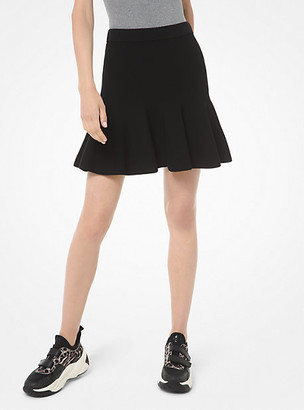 Michael Kors Viscose and Nylon Flounce Skirt