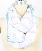 Betsey Johnson White & Lavender Metallic-Stripe Infinity Scarf
