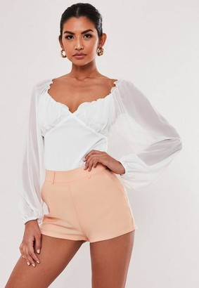 Missguided Nude Co Ord Basic Tailored Shorts