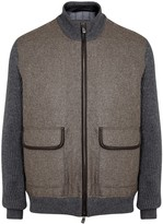 Corneliani Taupe Leather-trimmed Wool Jacket