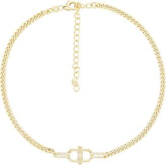 Adina's Jewels CZ Toggle Cuban Chain Choker Necklace