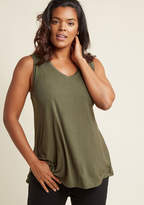 ModCloth Endless Possibilities Tank Top in Olive in 1X - Short Sleeve A-line Tunic