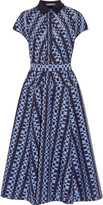 Lela Rose Belted checked wool-blend and fil coupé georgette midi dress