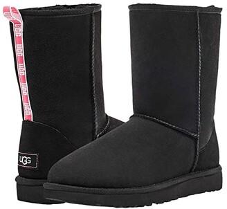 UGG Classic Short II Graphic Logo (Black/Neon Pink) Women's Shoes