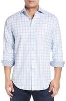 Thomas Dean Classic Fit Windowpane Jacquard Sport Shirt