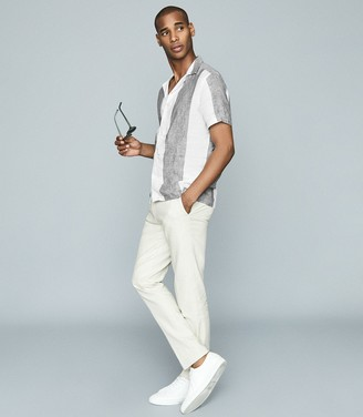Reiss Solar - Striped Linen Shirt in Grey & White