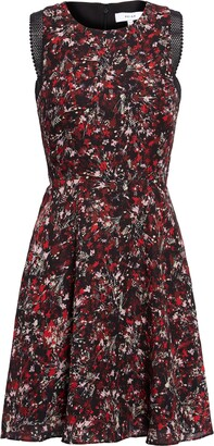 Reiss Louise Mesh Detail Floral Sleeveless Fit & Flare Minidress