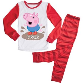 Peppa Pig Personalizable Toddler Girl Long Sleeve Shirt & Pants Pajamas, 2Pc Set