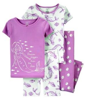 Carter's Big Girls 4 Piece Mermaid Snug Fit Pajama Set