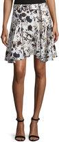 A.L.C. Brien Floral Stretch Silk Skirt, Eggshell/Black/Blue