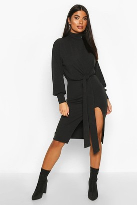 boohoo Petite Roll Neck Tie Detail Rib Midi Dress