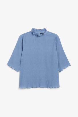 Monki Shirred ruffle neck blouse