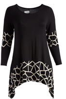 Glam Black & White Abstract-Accent Sidetail Tunic - Plus