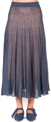 Agnona Linen-Silk Pleated Midi Skirt