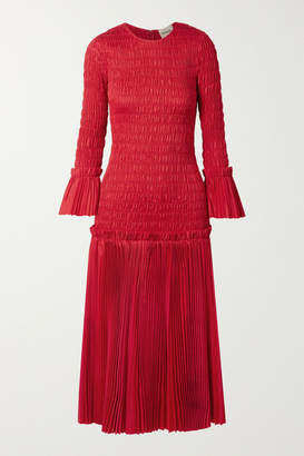 KHAITE Mariella Shirred Pleated Cotton-poplin Midi Dress - x small