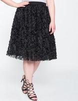 ELOQUII Plus Size Studio Spiral Embellished Midi Skirt