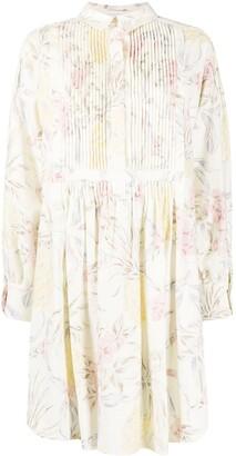 See by Chloe Floral-Print Draped-Sleeve Short Dress