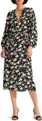 Veronica Beard Cecilia Floral Print Long Sleeve Midi Dress