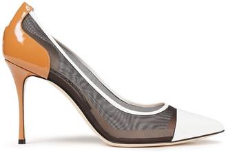 Sergio Rossi Godiva 90 Color-block Patent-leather And Mesh Pumps