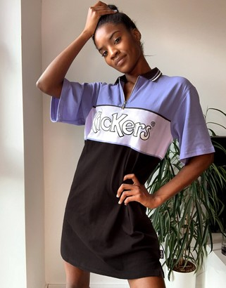 Kickers relaxed polo shirt dress with front logo in color block
