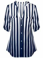 Moyabo Blouses for Women V Neck Roll-up Sleeve Casual Flowy V Neck Tunics Blouses Comfy A Line Work Shirt Tops Black Royal Blue Stripe Medium