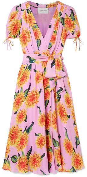 Carolina Herrera Floral-print Silk Crepe De Chine Wrap Midi Dress - Baby pink