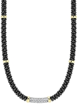 Lagos Black Caviar Ceramic and Diamond Necklace with 18K Gold Stations, 16