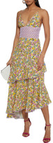 Thumbnail for your product : Charo Ruiz Ibiza Mara Tiered Crocheted Lace-paneled Floral-print Voile Midi Dress