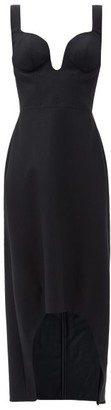 Alexander McQueen Sweetheart-neck Wool-flannel Midi Dress - Black