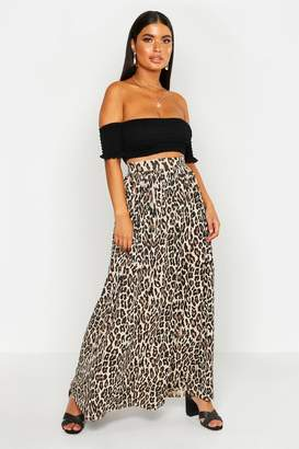 boohoo Petite Floor Sweeping Animal Print Maxi Skirt