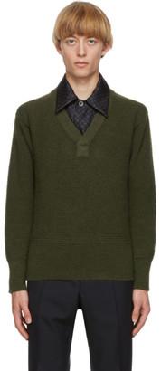 Maison Margiela Green Gauge Half-Cardigan Sweater