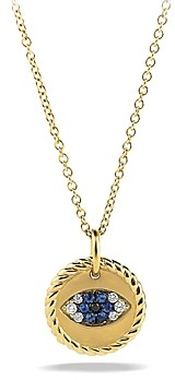 David Yurman Cable Collectibles Evil Eye Charm Necklace with Blue Sapphire, Black Diamonds & White Diamonds in Gold