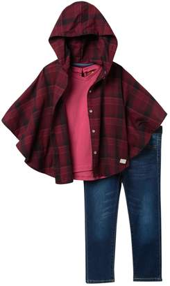 7 For All Mankind Plaid Poncho, Shirt, & Pants Set (Toddler Girls)