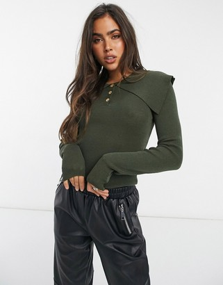 Vila knitted jumper with exaggerated collar in green