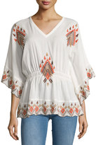 Raga Embroidered Butterfly-Sleeve Blouse, Brown