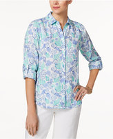 Charter Club Petite Seashell-Print Shirt, Only at Macy's
